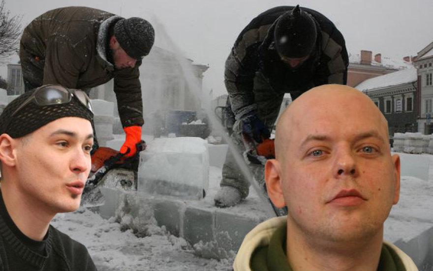 Gimstančios ledo skulptūros