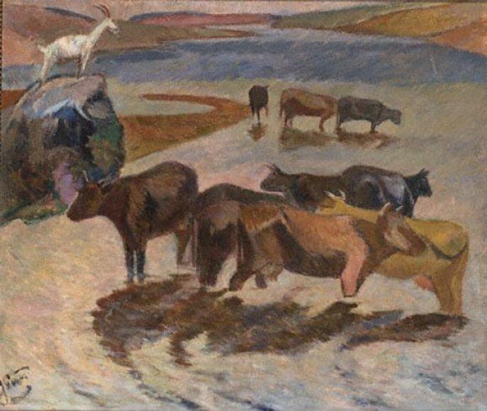 """Justinas Vienožinskis. """"Karvės Antanašės ežere"""". 1943"""
