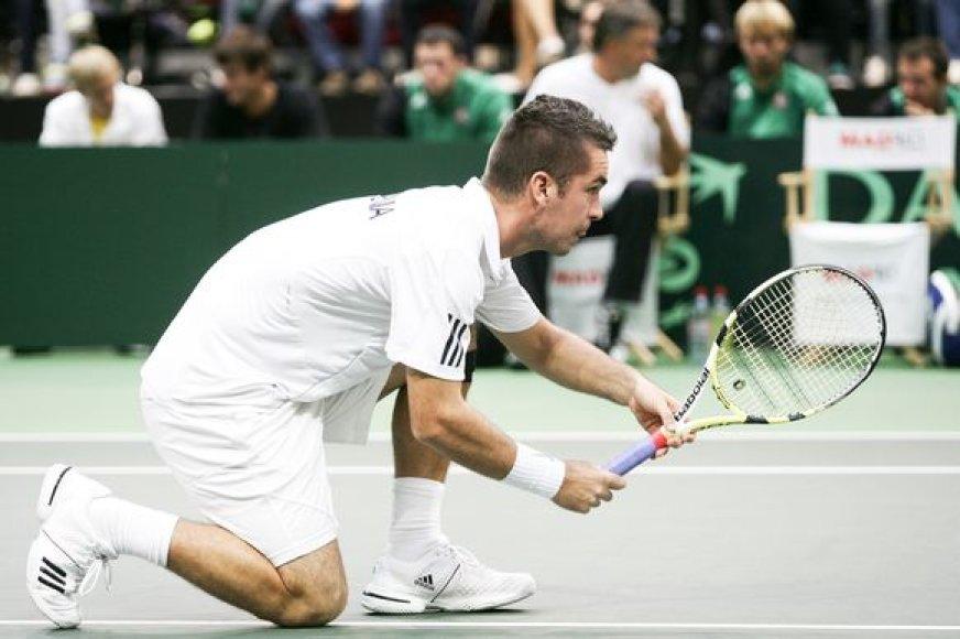 Luka Gregorcas ir Gregas Žemlja Daviso taurėje Vilniuje žaidė prieš Lauryną Grigelį ir Ričardą Berankį ir pralaimėjo po dramatiškos kovos