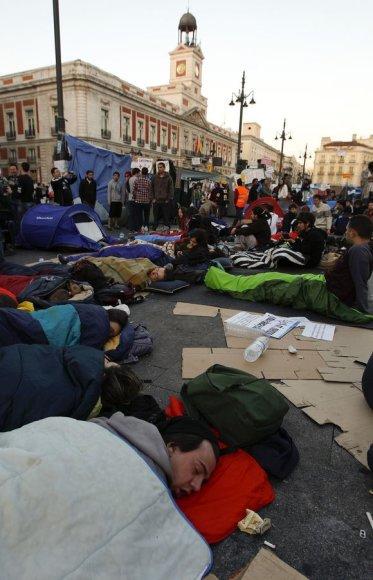 Ispanijos protestuotojai Madrido aikštėje