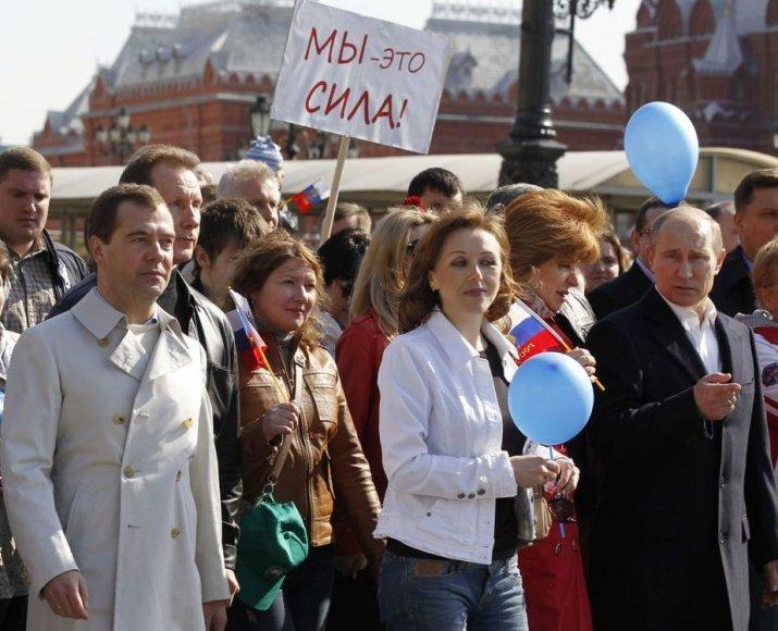 V.Putinas ir D.Medvedevas gegužės 1 d. demonstracijoje