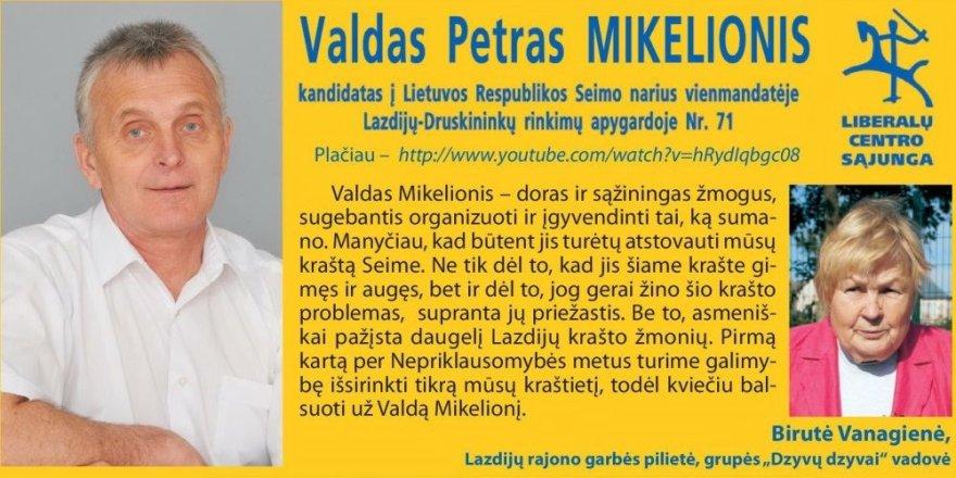Valdo Petro Mikelionio reklaminis lapelis
