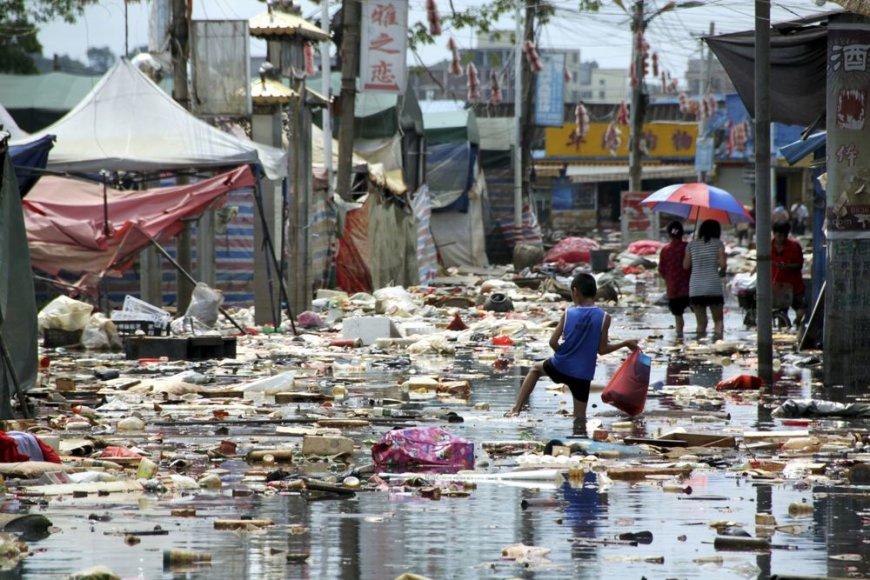 Kinija, potvynis Shantou mieste