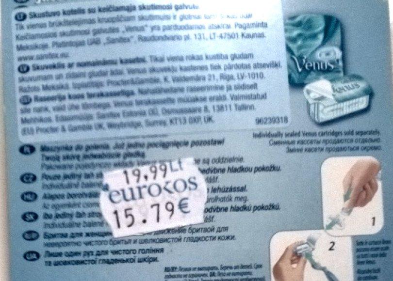 """Eurokos"" kainodara su klaida"