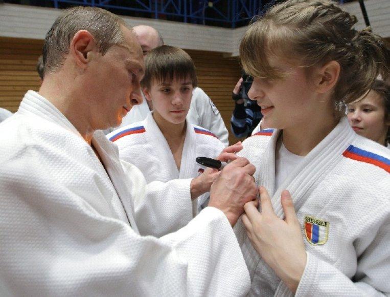 V.Putinas dziudo treniruotėje