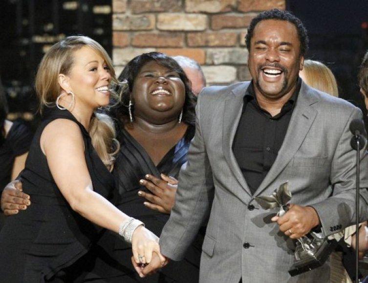 Dainininkė Mariah Carey, aktorė Gabourey Sidibe ir režisierius Lee Danielsas