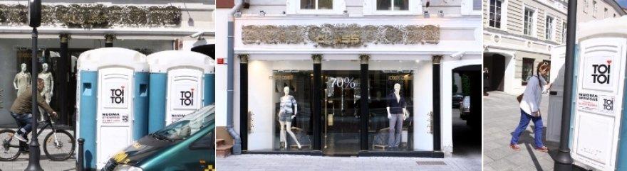 Tualetai priešais Mariaus Gelažniko parduotuvę