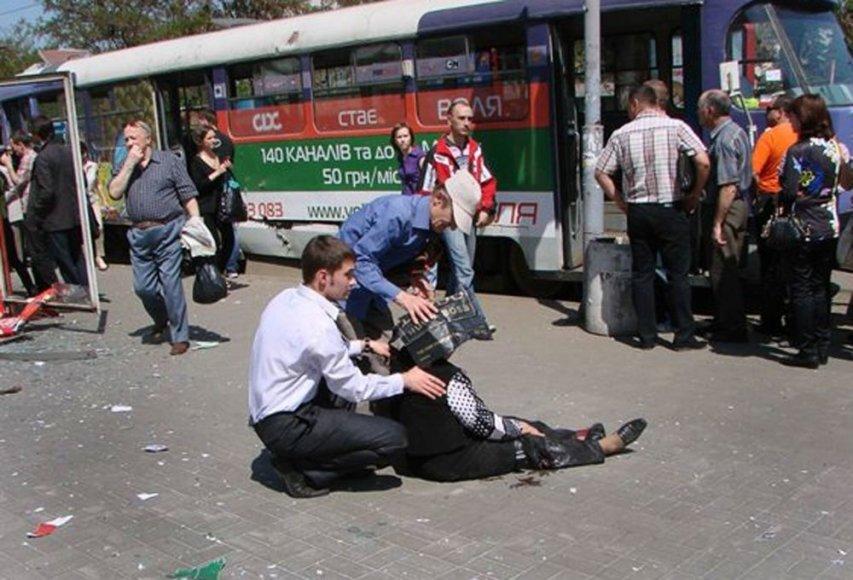 Per sprogimus Dnepropetrovske sužeista daugybė žmonių.