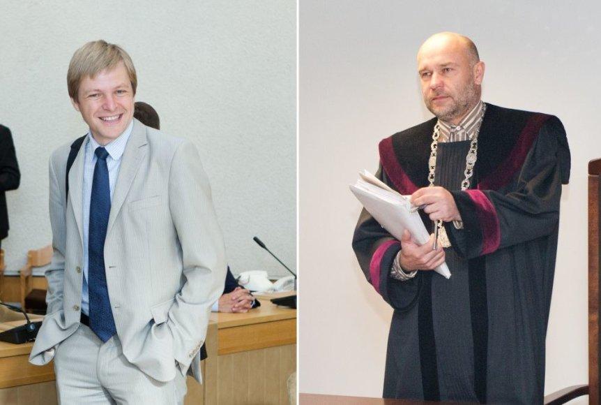 Teisėjas Audrius Cininas (dešinėje) viešai įgėlė teisingumo ministrui Remigijui Šimašiui.