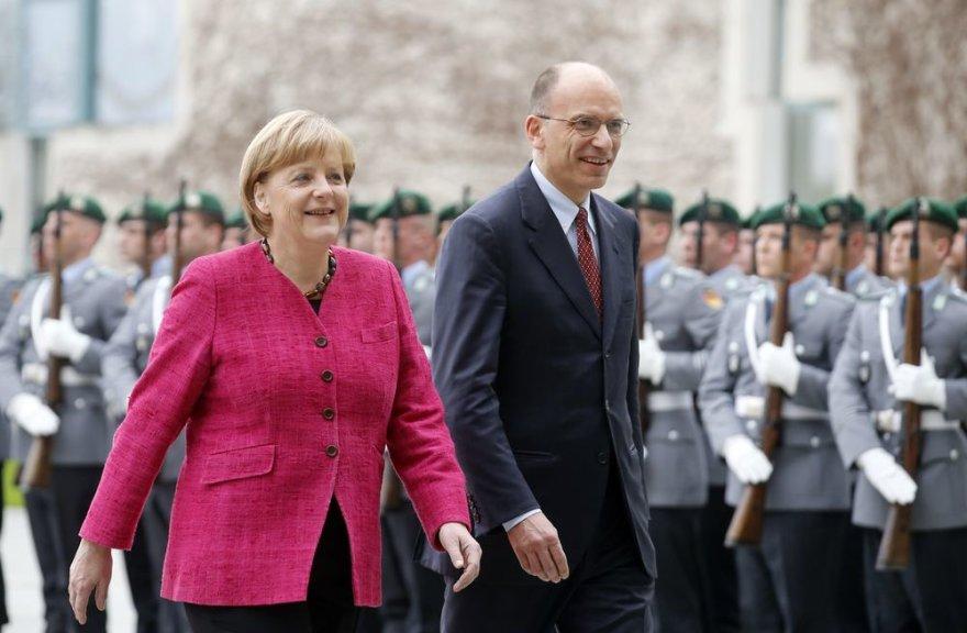 Angela Merkel ir Enrico Letta