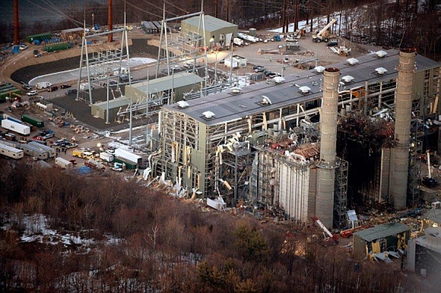 """Kleen Energy"" elektrinės pastatas po sprogimo"