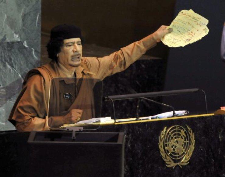 Muamaras Kadhafi Jungtinių Tautų Generalinės Asamblėjos tribūnoje (Niujorkas, 2009 m.)