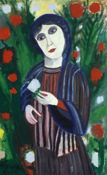Augustinas Savickas. Moteris su gėle.2008. Drb.,al.130x80