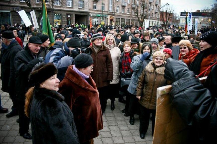 Protestas Klaipėdoje baigėsi taikiai.