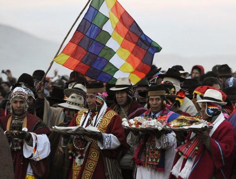 Aimarų gentis Bolivijoje švenčia Naujuosius metus.