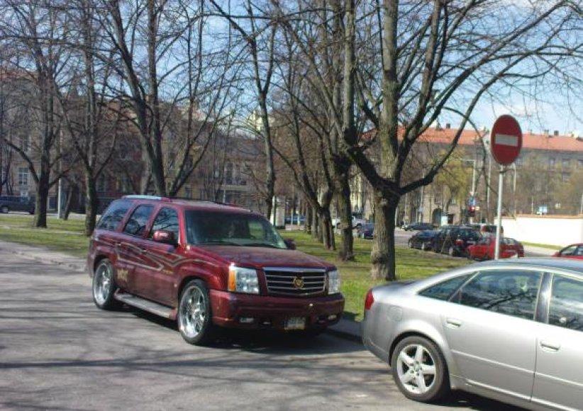 Vairuotojas gangsterišką visureigį atbulomis pastatė šioje Lukiškių gatvės vietoje.