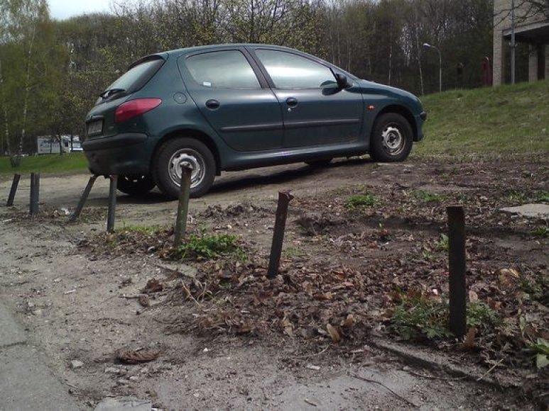 """Pievoje įkalintas """"Peugeot"""""""