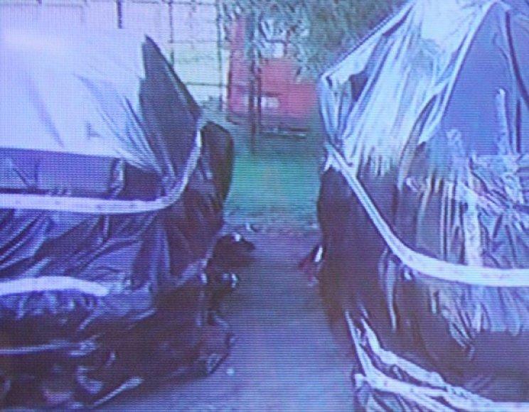 Sudeginti policijos automobiliai buvo apvynioti plevele.