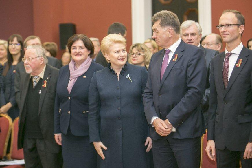 Irmanto Gelūno/15min.lt nuotr./Vytautas Landsbergis, Lortea Graužinienė, Dalia Grybauskaitė ir Algirdas Butkevičius