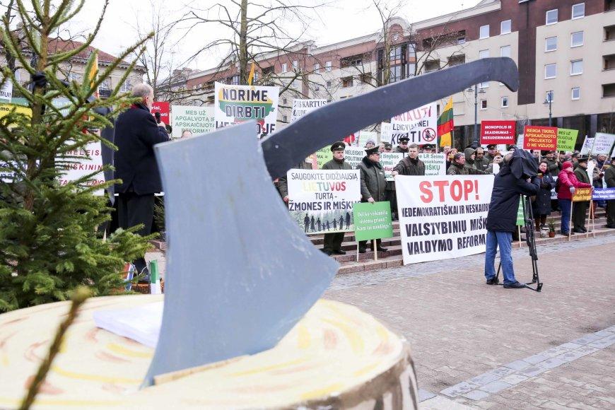Irmanto Gelūno / 15min nuotr./Prie Seimo – protestas dėl miškų reformos