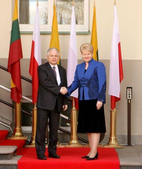 Prezidentė Dalia Grybauskaitė priėmė su darbo vizitu Lietuvoje viešintį Lenkijos Prezidentą Lechą Kačynskį (Lech Kaczynski).