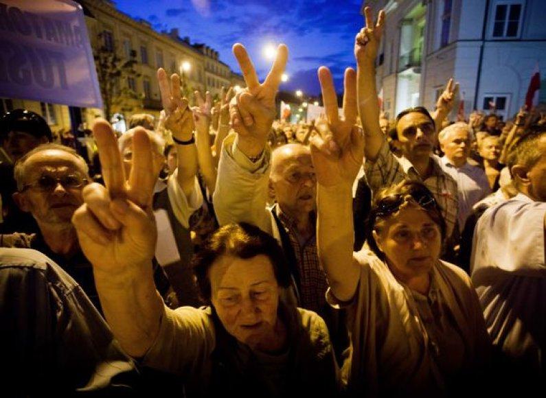 Protestuotojai Lenkijoje