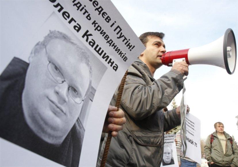 Protestuotojas dėl O.Kašino užpuolikų suradimo
