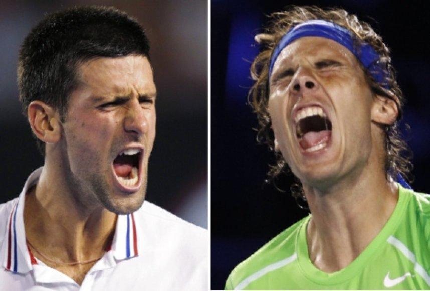 Novakas Džokovičius ir Rafaelis Nadalis.