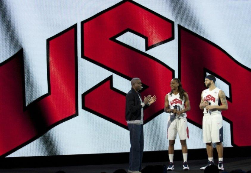 JAV krepšinio rinktinių žaidėjai – Tamika Catchings ir Deronas Williamsas (dešinėje).