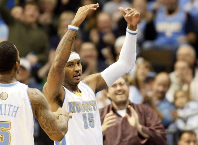 """""""Nuggets"""" į pergalę prieš """"Spurs"""" vedė rezultatyviausias NBA lygos žaidėjas C.Anthony"""