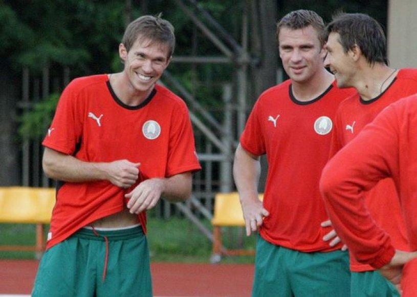 A.Hlebas (kairėje) neslėpė, jog baltarusiai trečiadienį tikisi pergalės