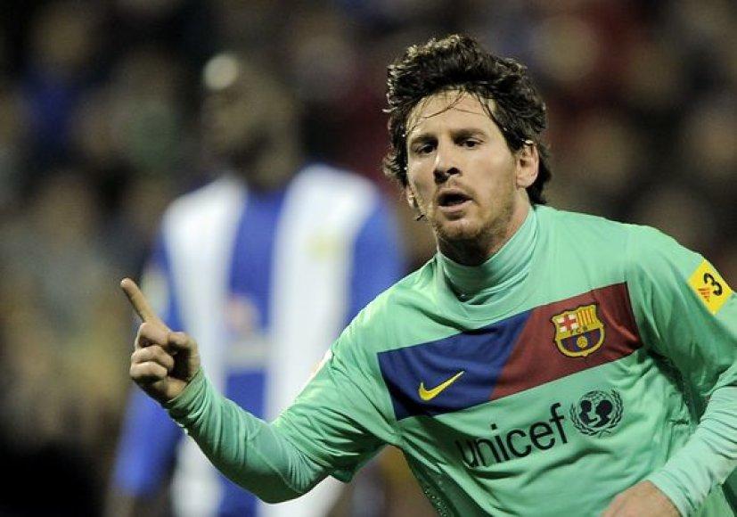 "Lionelis Messi ""Barcelonai"" pelnė du įvarčius."