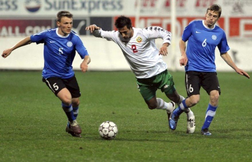 Estijos (mėlyna apranga) ir Bulgarijos rinktinių draugiškame mače visi įvarčiai buvo pelnyti tik iš 11 m baudinių.