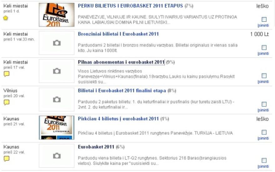 """Internetiniuose skelbimų portaluose netrūksta pasiūlymų pirkti ir parduoti """"Eurobasket 2011"""" bilietus."""