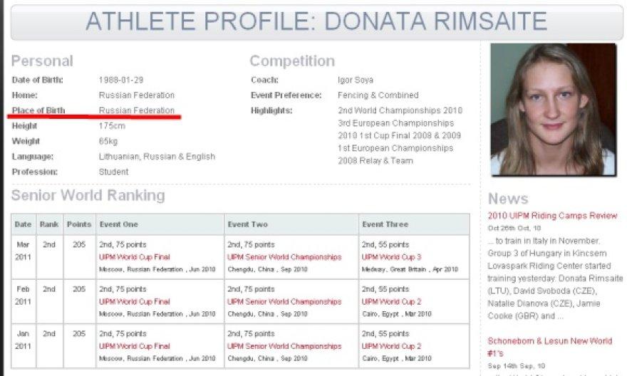 Oficialioje UIPM svetainėje internete Pentathlon.org skelbiama, jog 23 metų D.Rimšaitė gimė Rusijos federacijoje