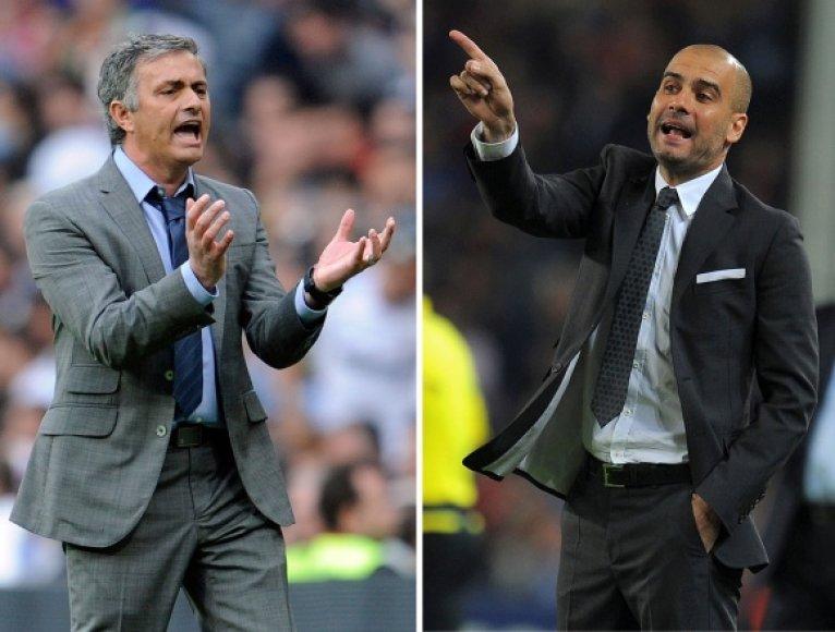 "Jose Mourinho (""Real"") prieš Pepą Guardiolą (""Barcelona"")."