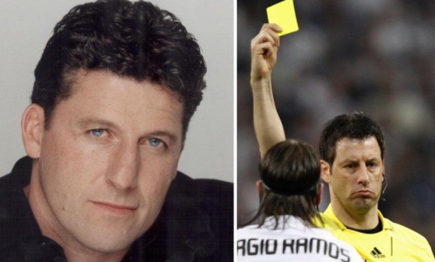 Futbolo komentatorius Andy Townsendas ir teisėjas Wolfgangas Starkas.