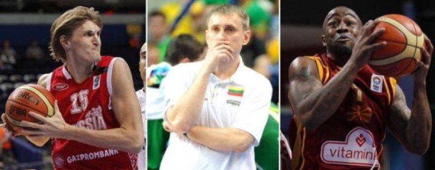 Jei rinktinė pateks į ketvirtfinalį, K.Kemzūros (c.) galvos skausmu taps rusai (k.) arba makedonai.