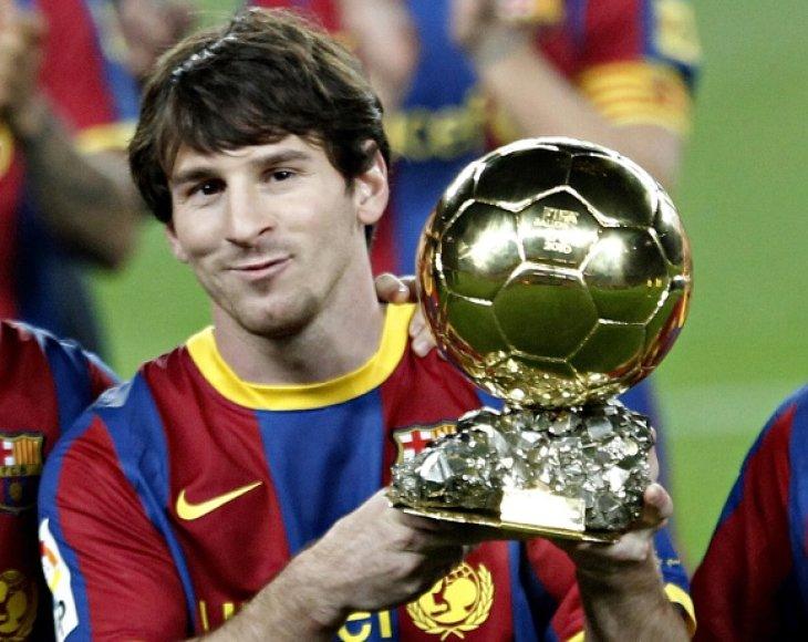 """Lionelis Messi """"Auksinį kamuolį"""" laimėjo 2009 ir 2010 metais."""