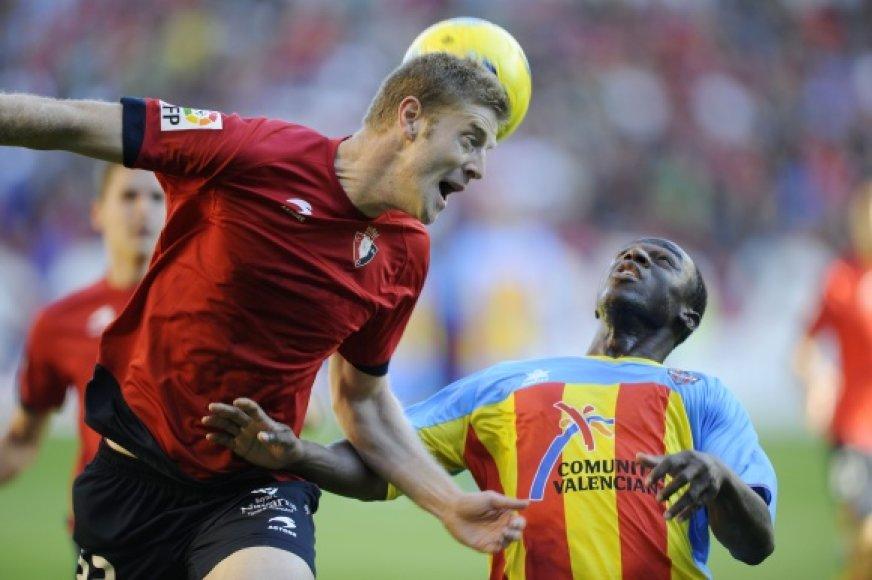 """""""Osasuna"""" ir """"Levante"""" mačo akimirka."""