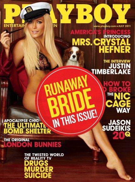 """""""Playboy"""" liepos mėnesio viršelis su """"pabėgusia nuotaka"""" Crystal Harris"""