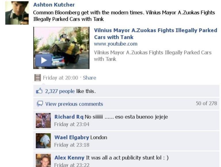 Įrašas Ashtono Kutcherio puslapyje