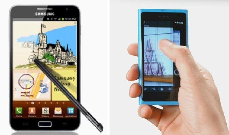 """Išmanieji telefonai """"Samsung Galaxy Note"""" (k.) ir """"Nokia N9""""."""