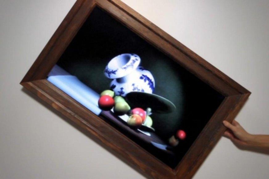 Pavertus paveikslą ant šono viskas, kas jame pavaizduota, pradeda byrėti į palenkto kampo pusę.