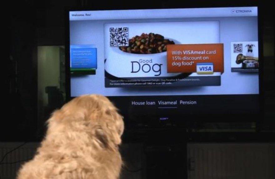 """""""Etronika"""" banko paslaugų valdymo gestais ir balsu pristatyme savo sąskaitą tikrina šuo Reksas, kuriam pateikiami išskirtiniai pasiūlymai maistui įsigyti bei gauti paskolą būstui – būdai."""