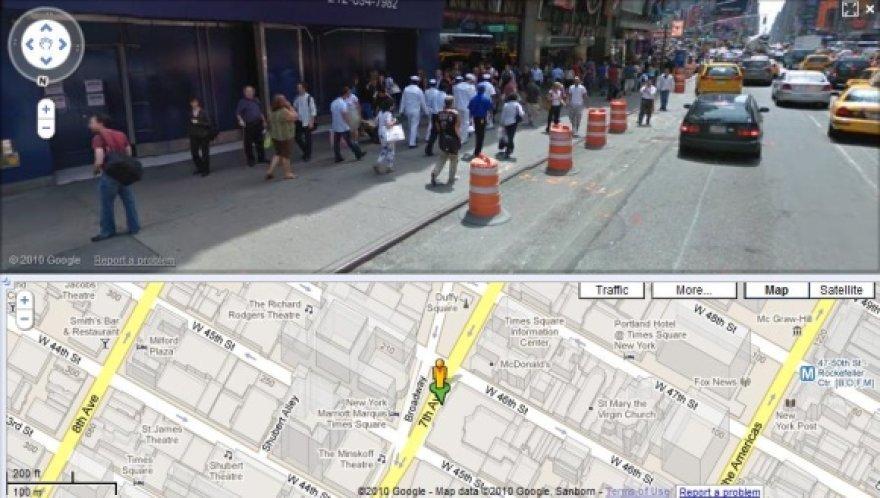 """""""Google Street View"""" žemėlapyje internete leidžia pamatyti gatvės vaizdą."""