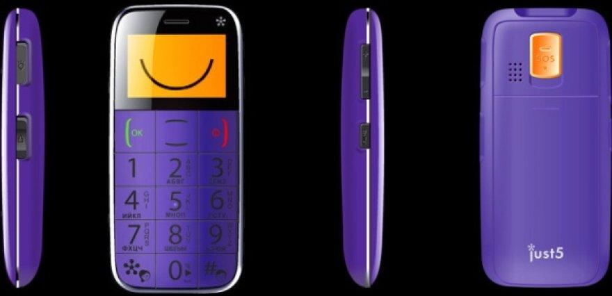 """Kompanijos """"Just5"""" mobilusis telefonas """"Spacephone""""."""