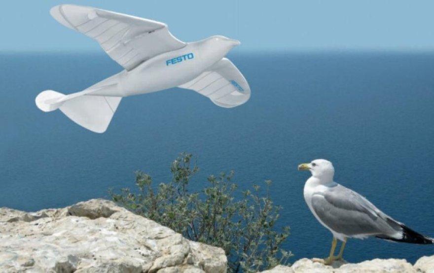 Mechaninis paukštis gali skristi vien mojuodamas savo milžiniškais sparnais.