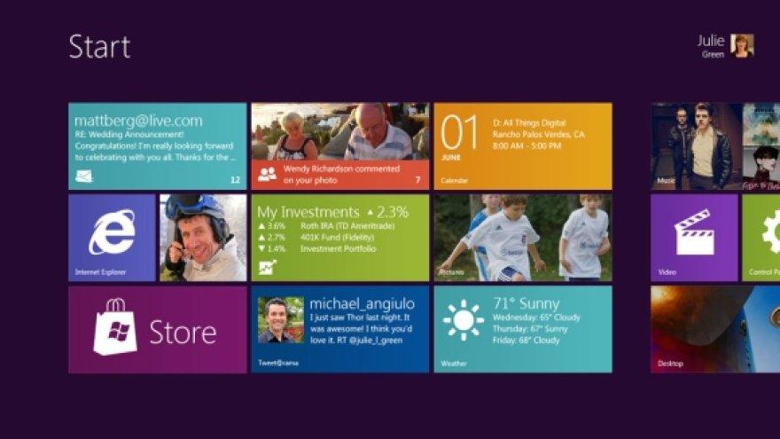"""Windows 8"" pagrindinis langas"