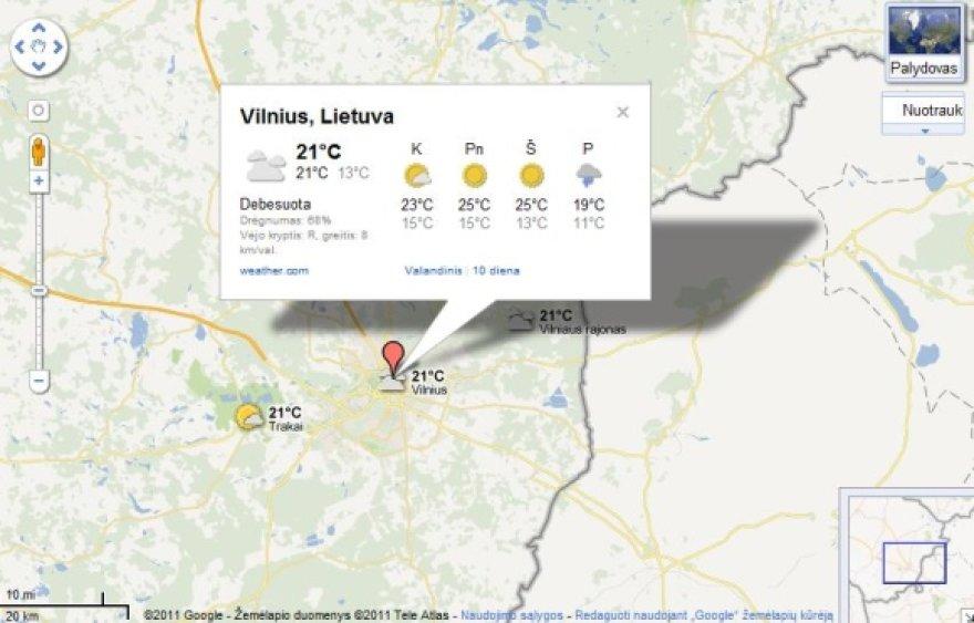 """""""Google Maps"""" nuo šiol galima matyti ir orų prognozes."""